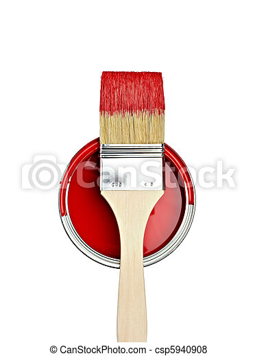 paint color tin can and brush - csp5940908