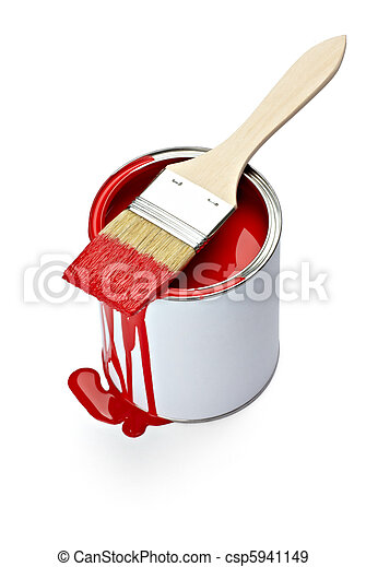 paint color tin can and brush - csp5941149