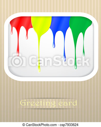 Paint drips postcard vector illustration - csp7933624