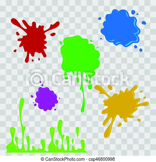 Paint Drop Abstract Illustration Multicolor Splashes On Checkered Transparent Background Flat Style Vector