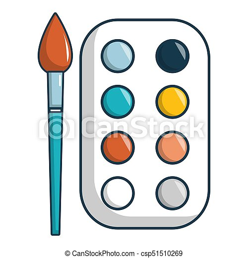 Paint Palette Icon Cartoon Style