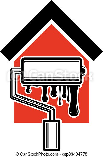 Paint Roller Icon Build Materials For Wall Painting House With Work Tools Emblem Reparation Home Reconstruction Idea Repair Team Vector Symbol