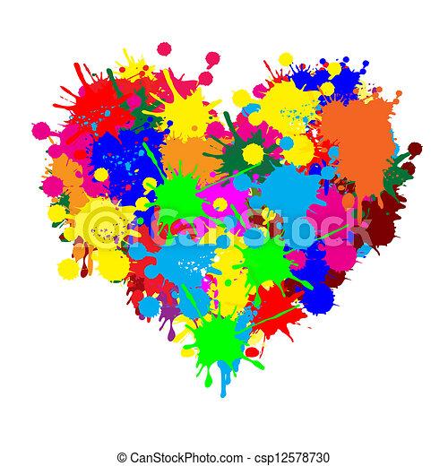 Paint splatter heart - csp12578730