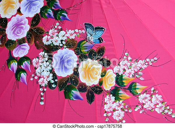 Paint Umbrella Thai Art Asia Thai Hand Craft Paint Color