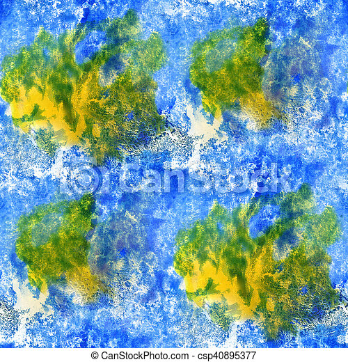 paint watercolor seamless blue green yellow water color texture with spots and streaks art - csp40895377