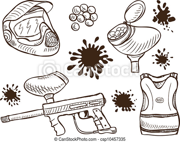 Paintball equipment doodle style - csp10457335