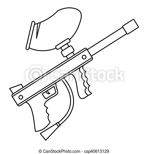 Paintball Gun Icon Outline Style Paintball Gun Icon In Outline Style On A White Background Vector Illustration