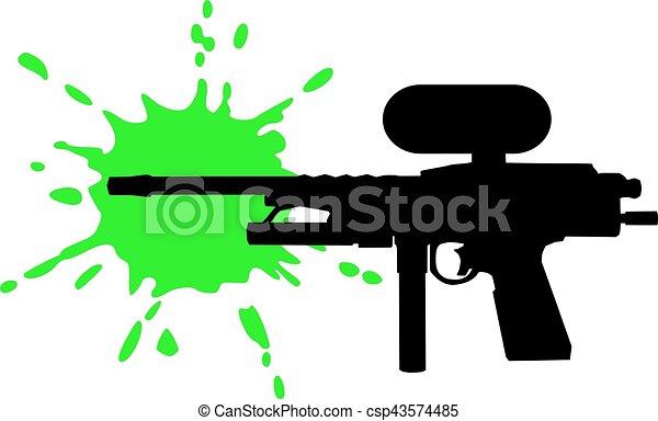 paintball gun with green splash vector search clip art rh canstockphoto com paintball clip art pictures paintball clip art pictures