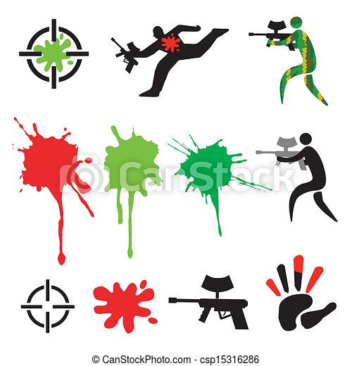 Paintball icons design elements - csp15316286