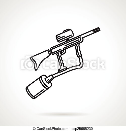 Paintball Marker Black Line Vector Icon Flat Line Design Vector Icon For Paintball Gun Or Marker On White Background