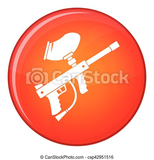 Paintball marker icon, flat style - csp42951516