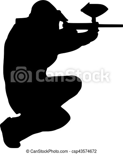 Paintball Player aiming - csp43574672
