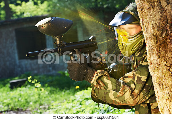 paintball player direct hit - csp6631584