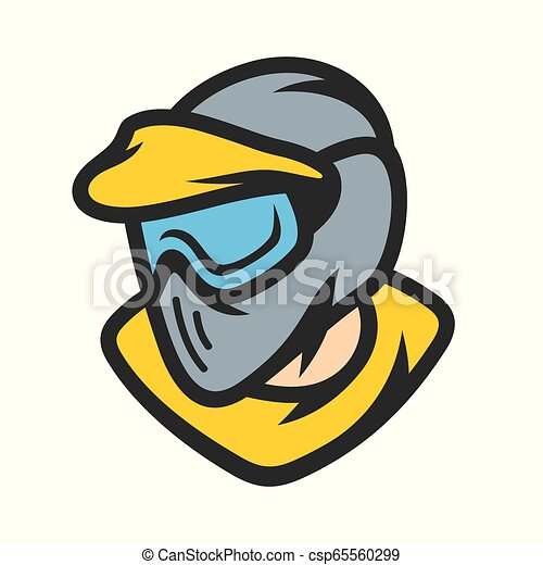 Paintball player in mask vector sign - csp65560299