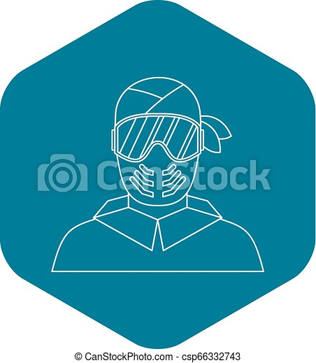 Paintball player in protective mask icon - csp66332743