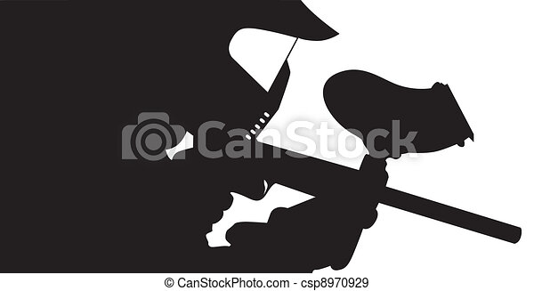 Paintball Player In Silhouette