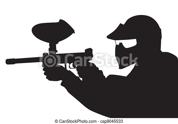Paintball player in silhouette - csp9045533
