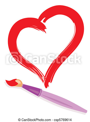 paintbrush and painted heart - csp5769614