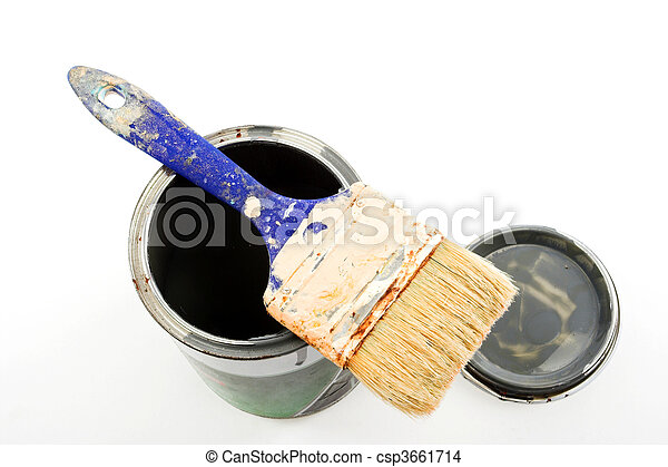 Paintbrush on a paint can - csp3661714