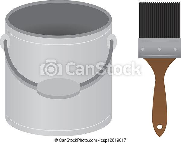 Paintbrush Paint Bucket  - csp12819017