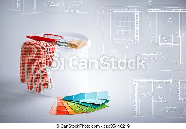 Paintbrush Paint Pot Gloves And Pantone Samplers Interior Design Custom Blueprint Interior Design Painting