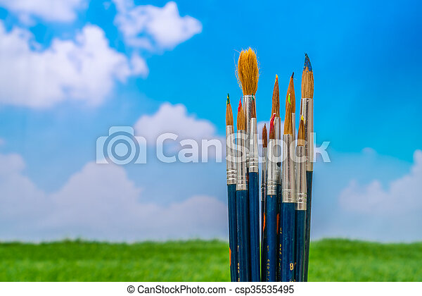 Paintbrush with blue sky - csp35535495