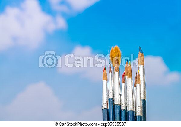 Paintbrush with blue sky - csp35535507
