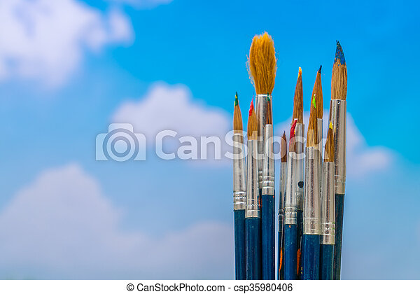 Paintbrush with blue sky - csp35980406