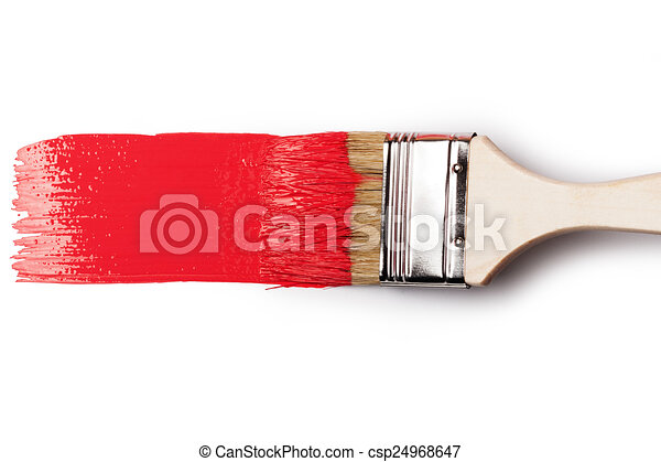Paintbrush with red paint - csp24968647