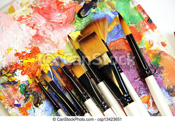 Paintbrushes and art palette - csp13423651