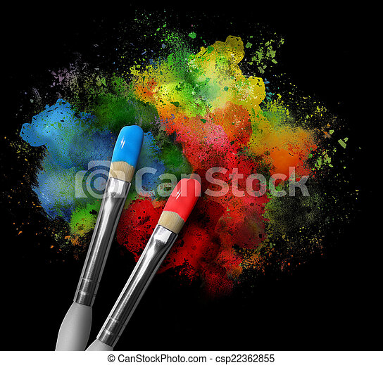 Paintbrushes with Paint Splatters on Black - csp22362855