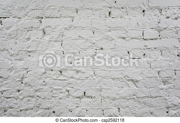 painted brick white wall 2 - csp2592118