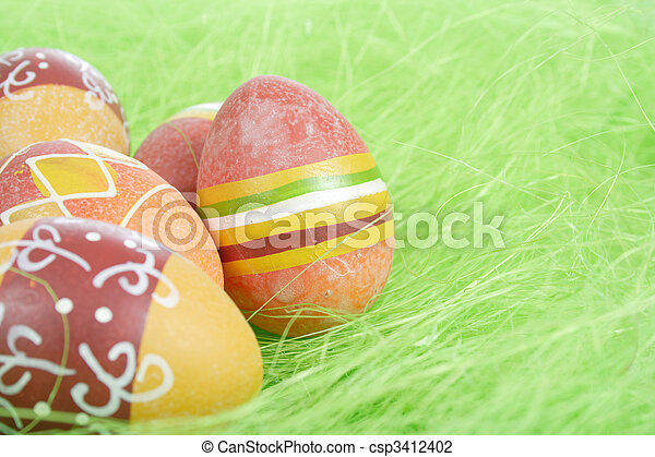Painted brown Easter Eggs - csp3412402