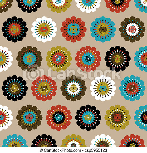 Painted flowers background - csp5955123