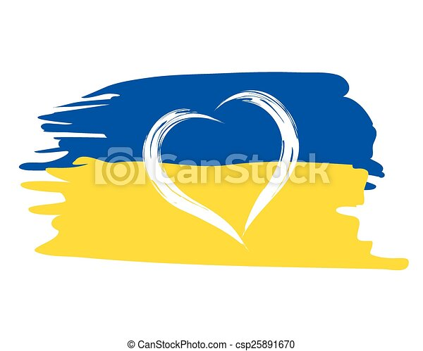 painted german flag with heart shape symbol - csp25891670