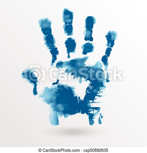 vector ink paint human hand or handprint on white background