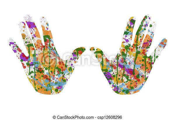 painted hands imprint of two hands covered with multicolor