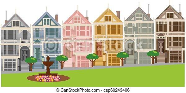 Pleasant Painted Ladies Row Houses In San Francisco Illustration Download Free Architecture Designs Scobabritishbridgeorg
