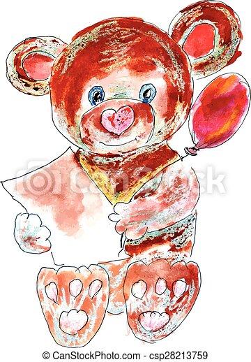 Painted Teddy Bear - csp28213759