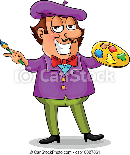 Cartoon Painter Standing With His Brush And Color Palette Clip Art