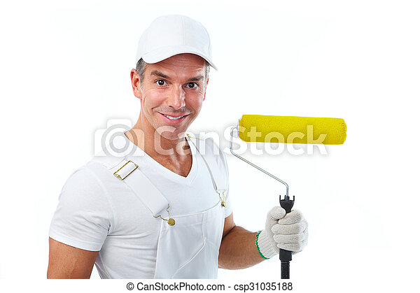 Painter man with painting roller. - csp31035188