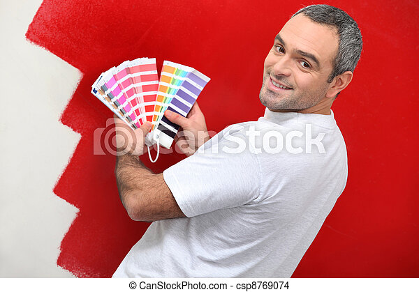 Painter with color samples - csp8769074