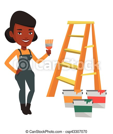 Painter With Paint Brush Vector Illustration