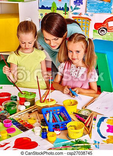 painting., 子供, 教師 - csp27038745
