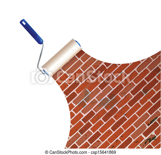 painting a brick wall illustration design over a white background rh canstockphoto com brick wall clipart black and white brick wall clipart images