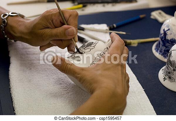 Painting a porcelain - csp1595457