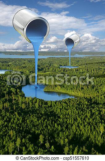 Painting blue lakes environmental concept - csp51557610