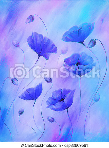 Painting blue poppy on color background color flower on abstract painting blue poppy on color background color flower on abstract background mightylinksfo