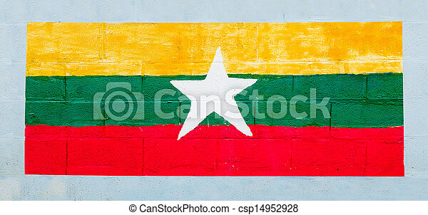 Painting flag of myanmar on wall - csp14952928