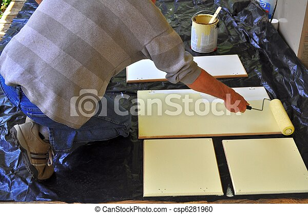 Painting Kitchen Cabinet Doors One Of Best Ways To Paint Stock